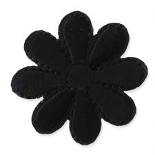 BLACK DAISY MOTIF IRON ON EMBROIDERED PATCH APPLIQUE